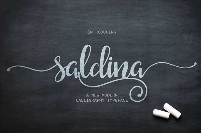 Saldina - 53+ Best Free Calligraphy & Hand Lettering Fonts [year]