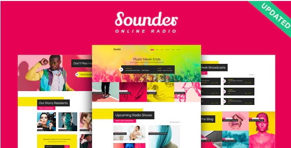 Sounder - 36+ Amazing WordPress Radio Station Themes [year]