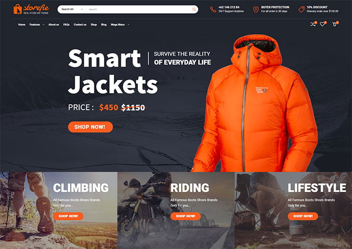 Storefie - 33+ Lovely Outdoor Gear WordPress Themes [year]