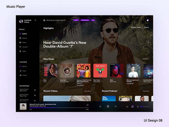 Streaming - 63+ BEST Free PodCast Web & Mobile App UI Design IDEA [year]