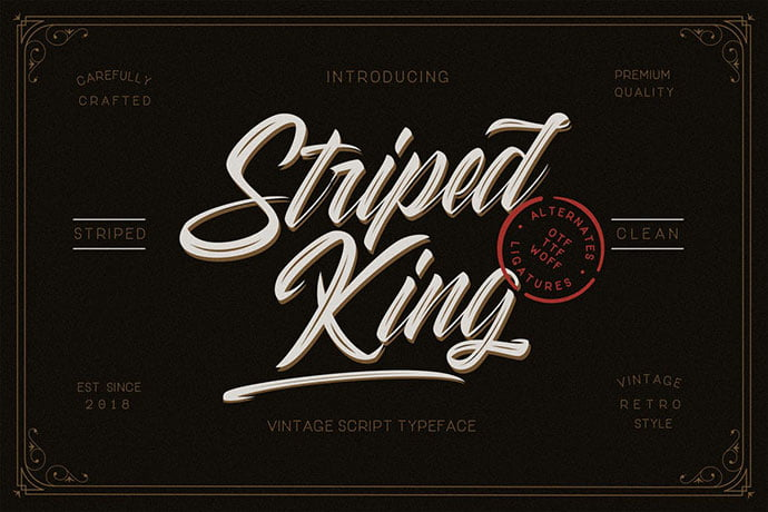 Striped-King - 53+ Nice T-shirt Design Hand Lettering Fonts [year]