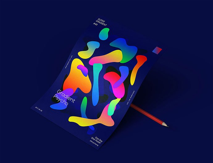 Super-Gradient - 38+ Awesome BEST Free Organic Shapes Poster Design [year]
