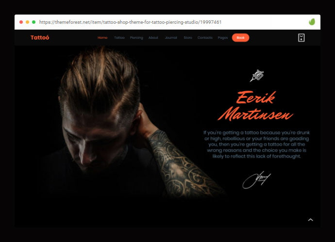 Tattoo - 28+ Amazing Tattoo Artist WordPress Themes [year]