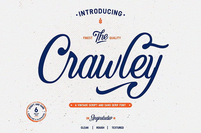 The-Crawley - 53+ Nice T-shirt Design Hand Lettering Fonts [year]