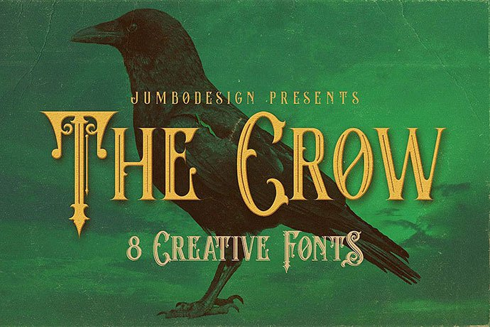 The-Crow - 38+ Beautiful Fonts For Graphic Design [year]