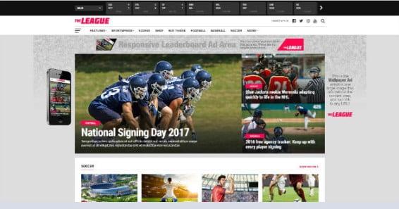 The-League - 42+ Amazing Sport Magazine WordPress Themes [year]
