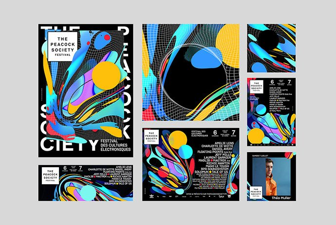 The-Peacock-Society-2018 - 38+ Awesome BEST Free Organic Shapes Poster Design [year]