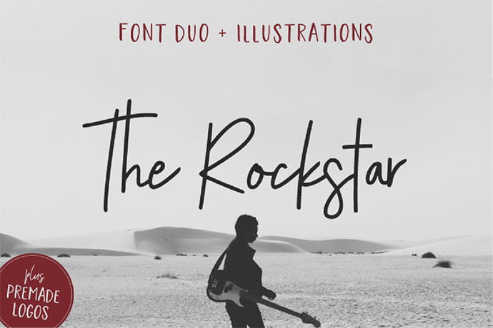 The-Rockstar - 53+ Nice T-shirt Design Hand Lettering Fonts [year]