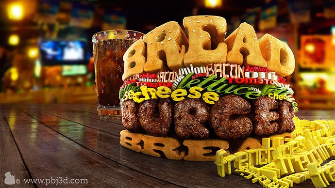 Typography-Burger - 53+ Impressive BEST Free Food & Drink Designs [year]