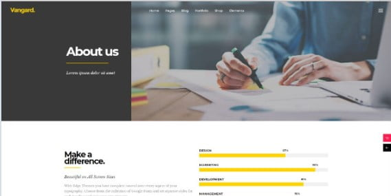 Vangard - 33+ Creative WordPress Themes With About Me Page [year]