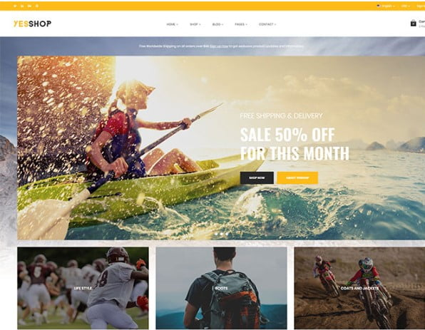 Yesshop - 33+ Lovely Outdoor Gear WordPress Themes [year]