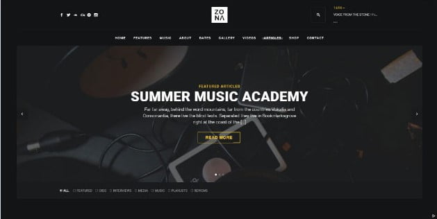 Zona - 33+ Awesome Music Blog Responsive WordPress Themes [year]