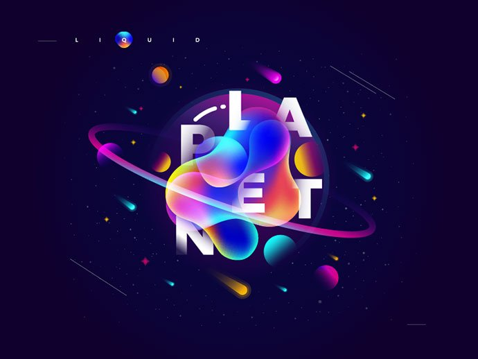 liquid-planet - 38+ Awesome BEST Free Organic Shapes Poster Design [year]