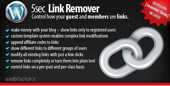 5sec-Link-Remover - 35+ Popular Membership Plugins For WordPress [year]