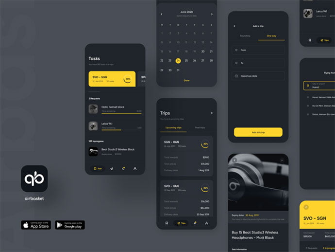 Airbasket - 46+ BEST Free Dark App UI Designs IDEA [year]