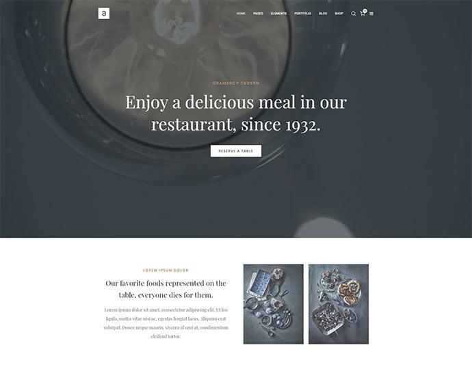 Arteon - 34+ GREAT WordPress Restaurant Landing Page Themes [year]