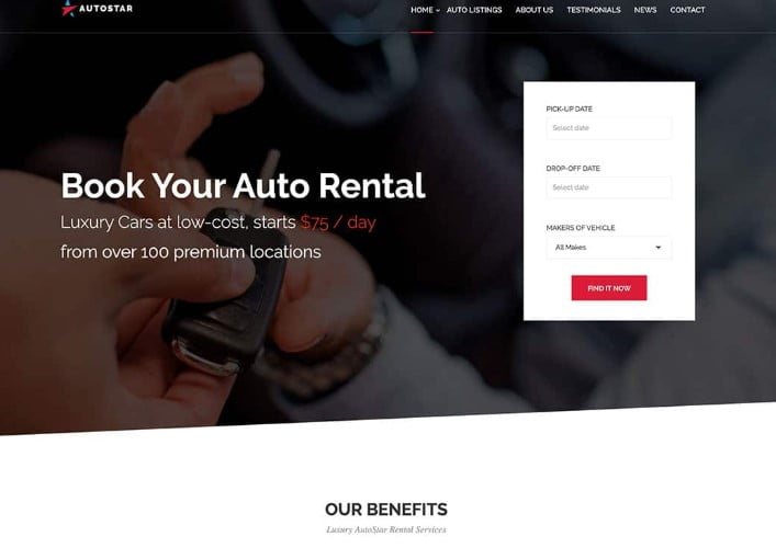 Autostar-1 - 30+ Awesome WordPress Car Rental Themes [year]