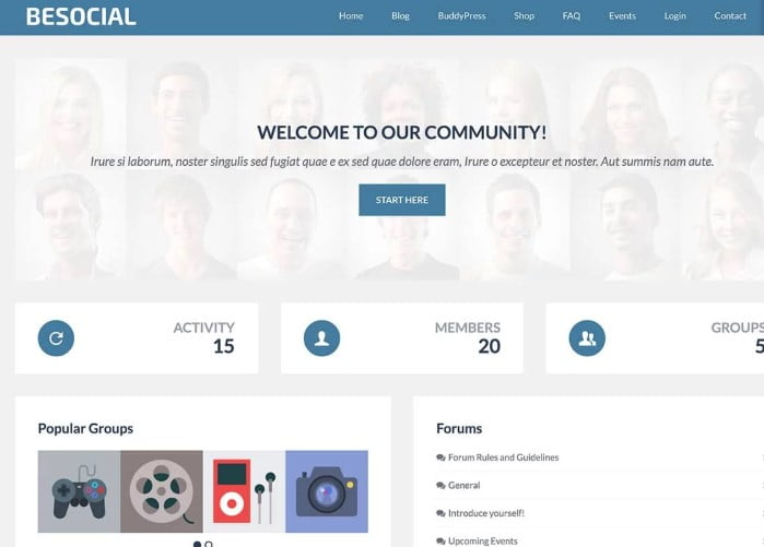 BeSocial - 35+ Responsive WordPress Community Themes [year]