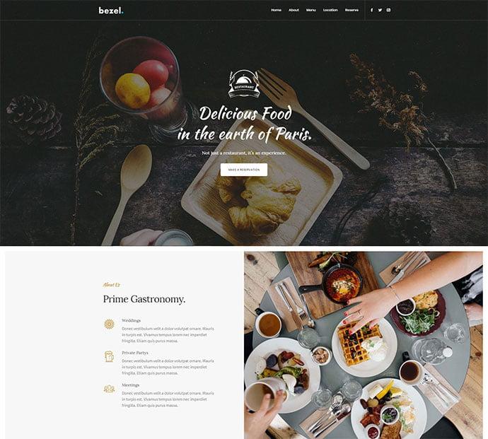 Bezel - 34+ GREAT WordPress Restaurant Landing Page Themes [year]