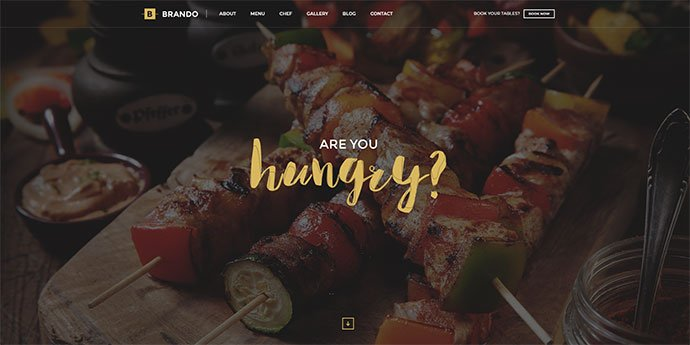 Brando - 34+ GREAT WordPress Restaurant Landing Page Themes [year]