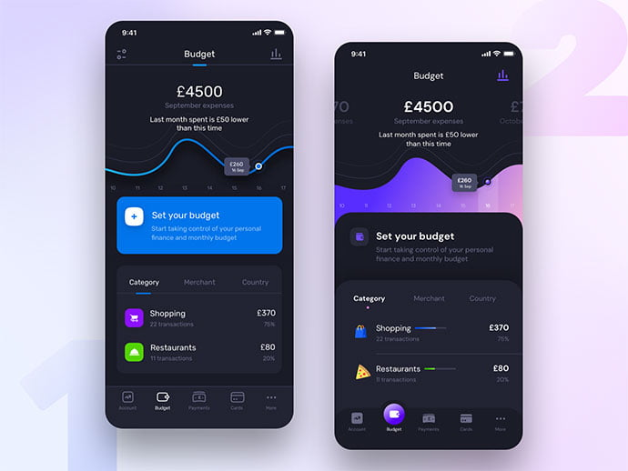 Budget-Setup - 46+ BEST Free Dark App UI Designs IDEA [year]