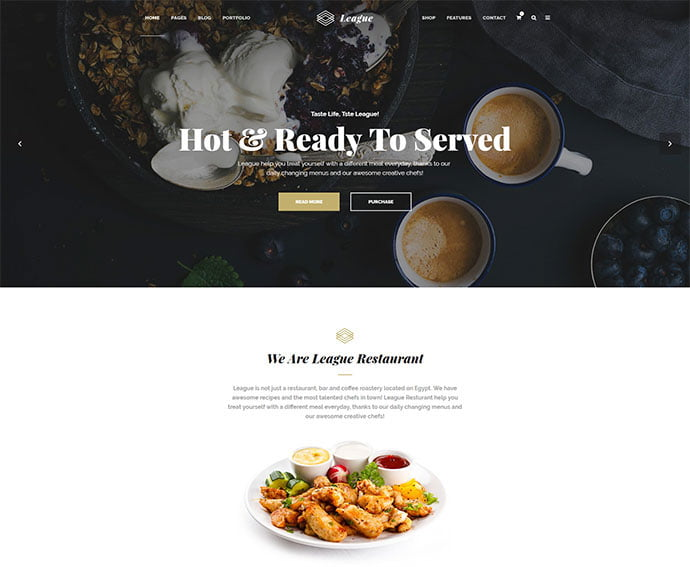 Business-League - 34+ GREAT WordPress Restaurant Landing Page Themes [year]