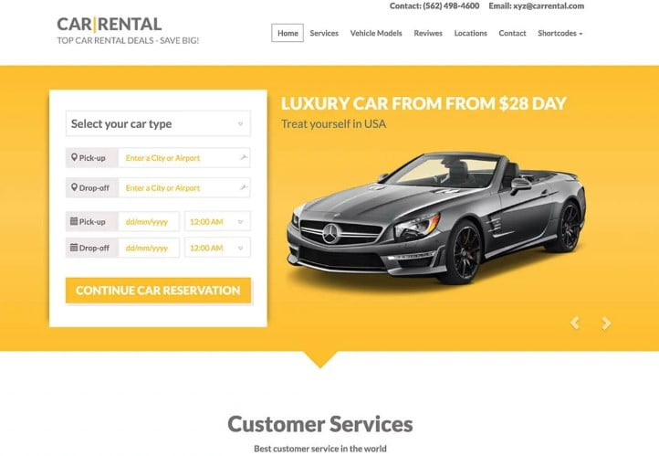 Car-Rental - 30+ Awesome WordPress Car Rental Themes [year]