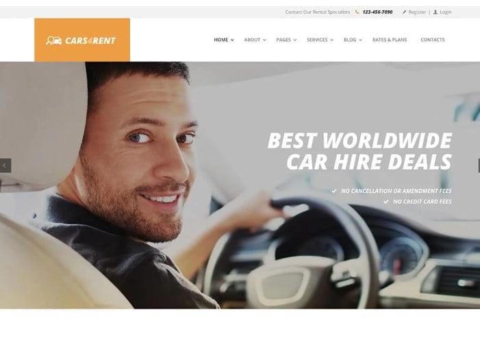 Cars4Rent-1 - 30+ Awesome WordPress Car Rental Themes [year]