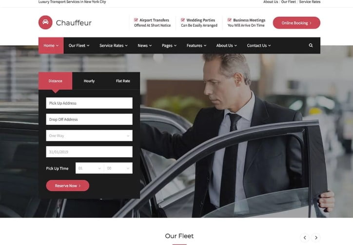 Chauffeur-1 - 30+ Awesome WordPress Car Rental Themes [year]