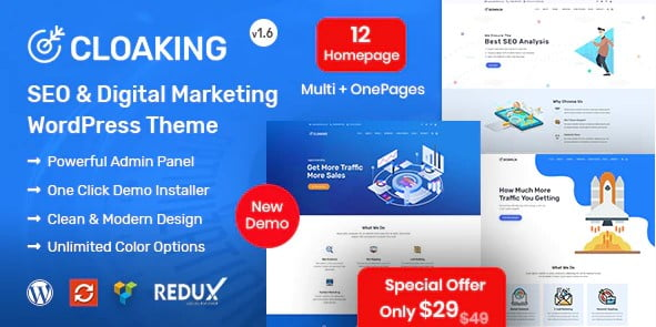 Cloaking - 36+ Amazing WordPress SEO Agency Themes [year]