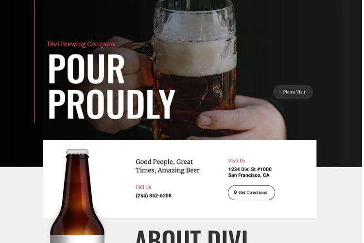 Divi - 34+ AWESOME WordPress Brewery Themes [year]