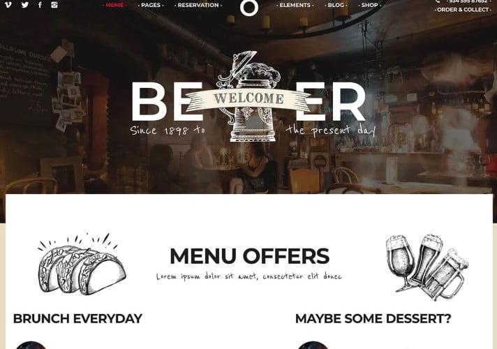 GastroBar - 34+ AWESOME WordPress Brewery Themes [year]
