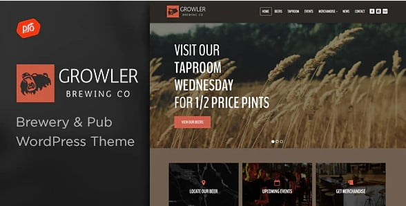 Growler - 34+ AWESOME WordPress Brewery Themes [year]