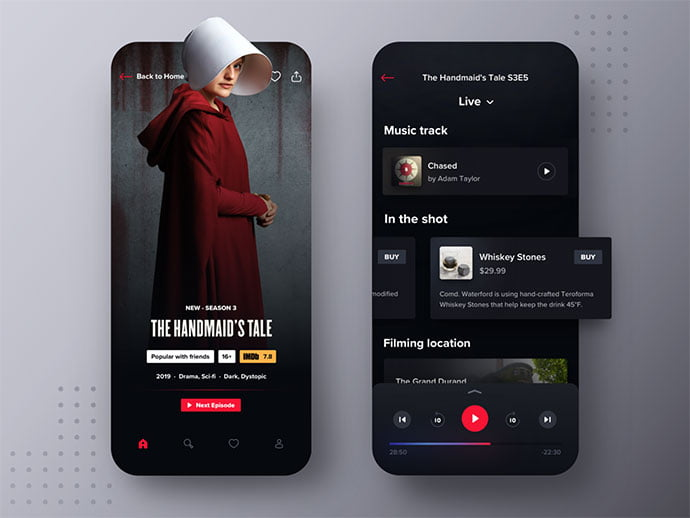 Hbo-Max-Mobile-Companion - 46+ BEST Free Dark App UI Designs IDEA [year]