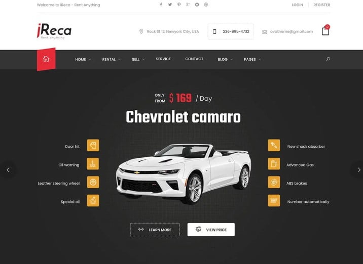 Ireca - 30+ Awesome WordPress Car Rental Themes [year]