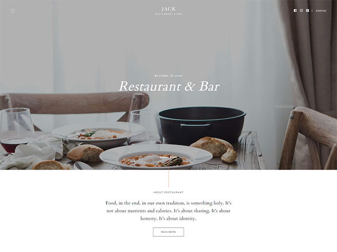 Jack - 34+ GREAT WordPress Restaurant Landing Page Themes [year]