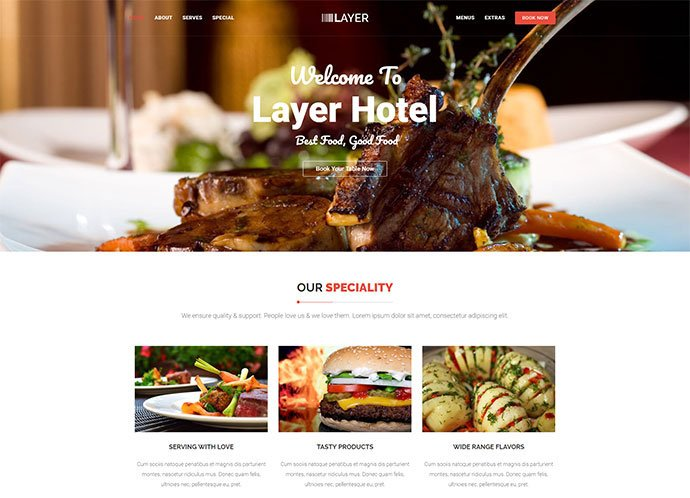 Layer - 34+ GREAT WordPress Restaurant Landing Page Themes [year]