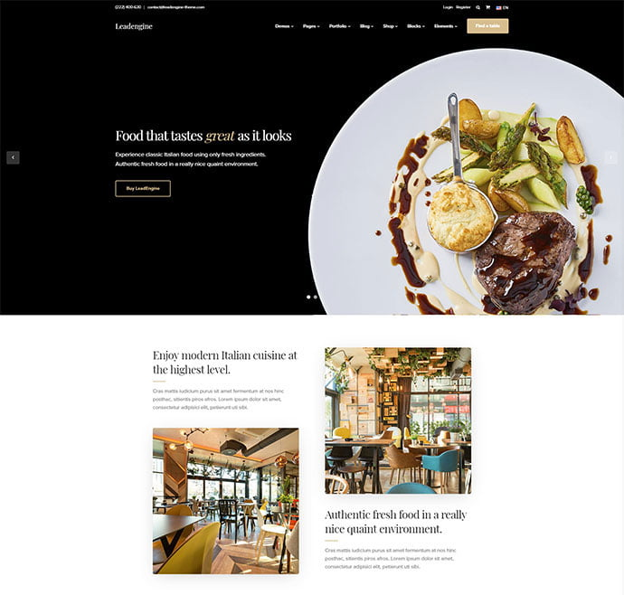 LeadEngine - 34+ GREAT WordPress Restaurant Landing Page Themes [year]