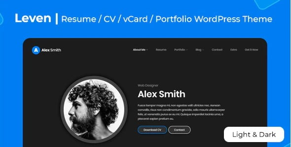 Leven - 35+ GREAT WordPress Resume Themes [year]