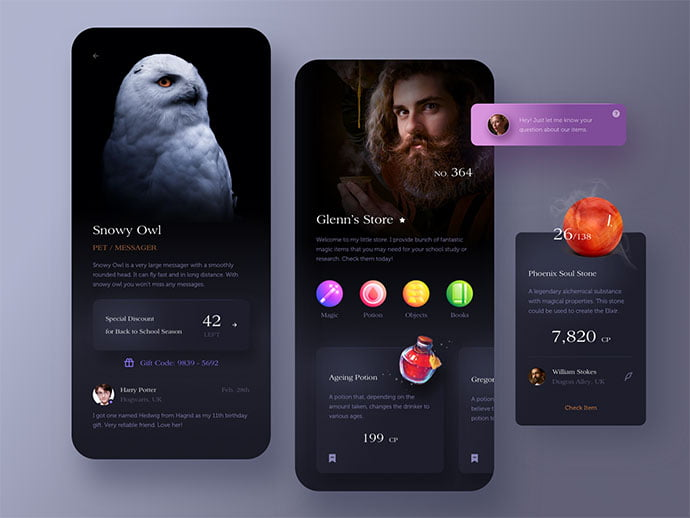 Magic-Store-App. - 46+ BEST Free Dark App UI Designs IDEA [year]