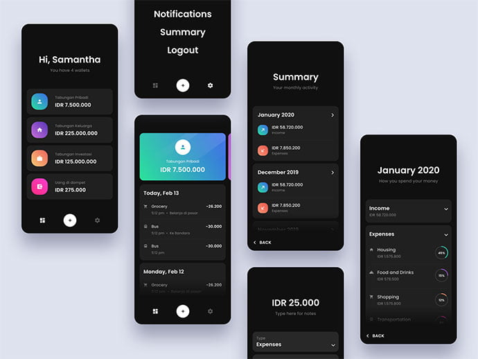 Money-Management - 46+ BEST Free Dark App UI Designs IDEA [year]