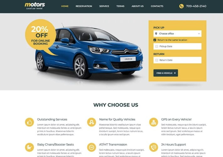 Motors - 30+ Awesome WordPress Car Rental Themes [year]