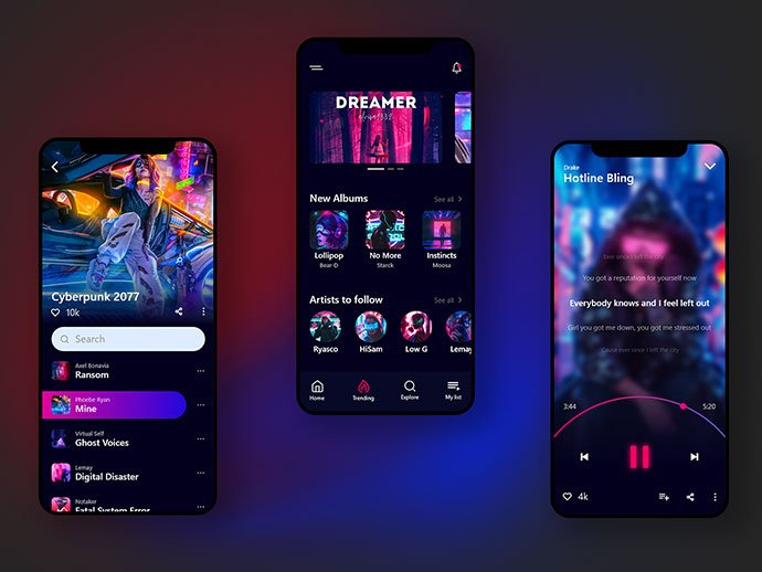 Music - 46+ BEST Free Dark App UI Designs IDEA [year]