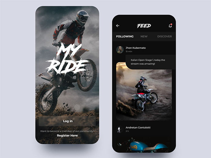 Myride-Motocross - 46+ BEST Free Dark App UI Designs IDEA [year]