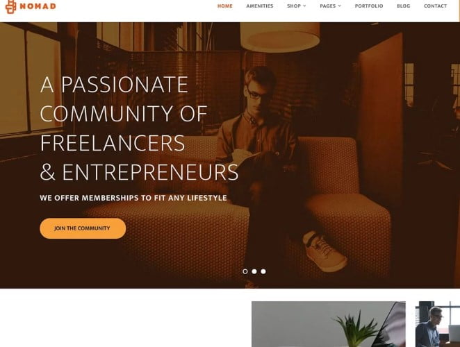 Nomad - 35+ TOP WordPress Coworking Space Themes [year]