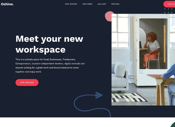 Oshine - 35+ TOP WordPress Coworking Space Themes [year]