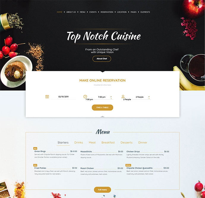 Pearl-Business - 34+ GREAT WordPress Restaurant Landing Page Themes [year]