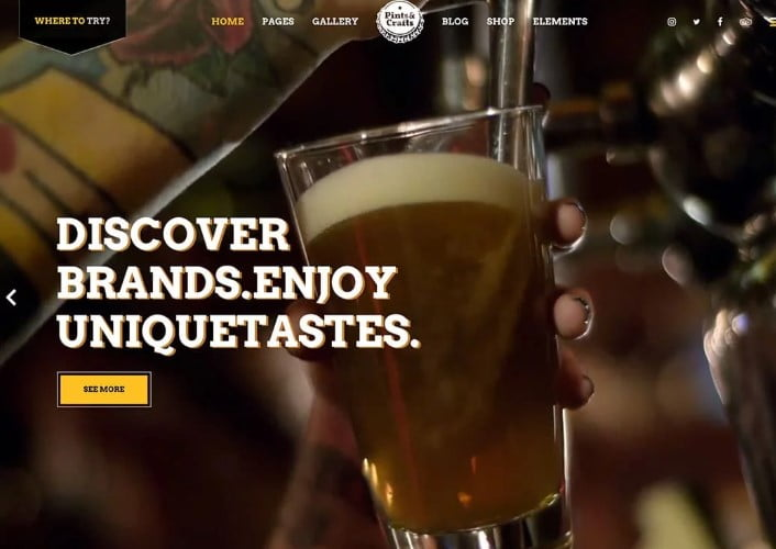 Pints-Crafts - 34+ AWESOME WordPress Brewery Themes [year]