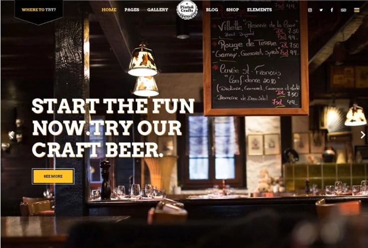 PintsCrafts-1 - 35+ AMAZING WordPress Bar & Pub Themes [year]
