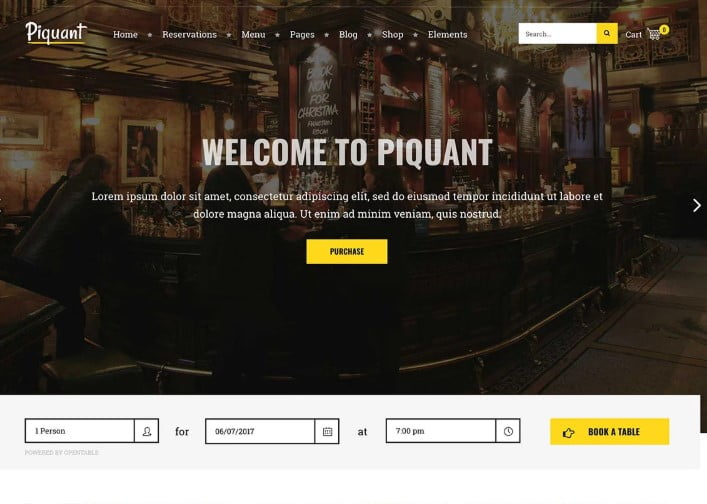 Piquant-1 - 35+ AMAZING WordPress Bar & Pub Themes [year]